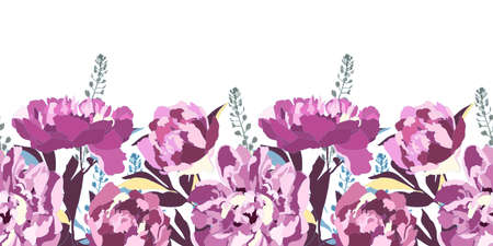 Vector floral seamless pattern, border. Purple peonies, blue, yellow, maroon branches and leaves isolated on a white background.