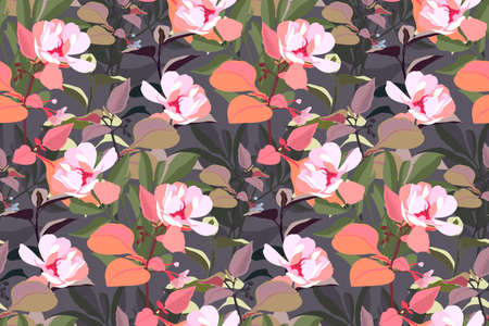 Vector floral seamless pattern. Pink garden flowers with orange, green, gray leaves isolated on a gray background. Beautiful flowers for fabric, wallpaper design, kitchen textile, banners, cards.