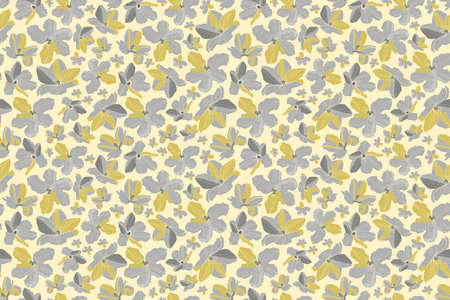 Vector floral seamless pattern. Yellow, gray flowers isolated on a light yellow background.