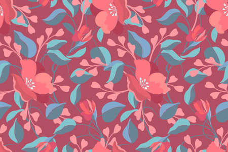 Art floral vector seamless pattern. Pink geranium, viola, blue leaves. Garden flowers, buds isolated on a maroon background. Endless pattern for wallpaper, fabric, textiles, accessories.