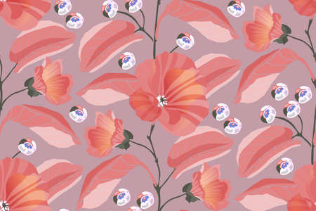 Art floral vector seamless pattern. Pink mallows, branches, leaves, blue berries isolated on a dusty pink background. Tile pattern for wallpaper design, fabric, kitchen textile, wrapping paper.