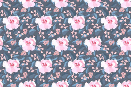 Art floral vector seamless pattern. Pink flowers, blue leaves. Garden flowers, buds isolated on a gray background. Endless pattern for wallpaper, fabric, textiles, accessories.