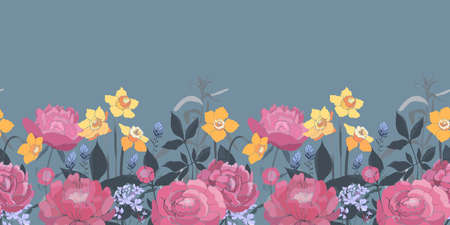 Vector floral seamless border. Yellow daffodils, pink peonies, lavender. Garden flowers isolated on a blue background. Ilustrace
