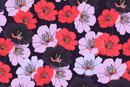 Vector floral seamless pattern. Pink, red, dark purple flowers isolated on a dark purple background.