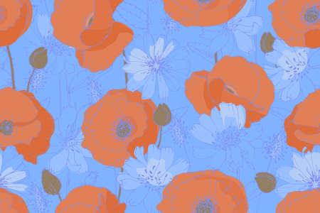 Vector floral seamless pattern. Orange poppies, blue chicory, succory with beige buds isolated on a blue background. Flower pattern.
