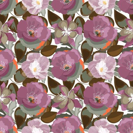 Seamless pattern of plum-colored poppies