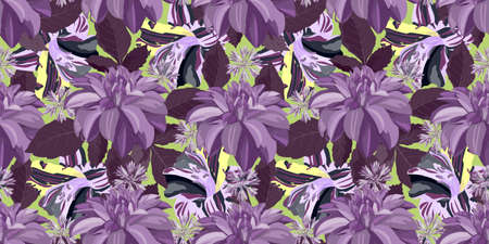 Vector floral seamless pattern with purple dahlia flowers and yellow lily flowers. Floral background. Ilustrace