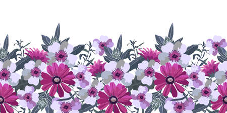 Art floral vector seamless pattern. Purple, pink, white flowers with green leaves. Vector floral elements Isolated on a white background.
