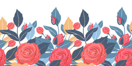 Art floral vector seamless pattern, border with red roses, yellow and blue leaves. Vector garden flowers and buds isolated on a white background.