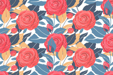 Art floral vector seamless pattern with red roses, yellow and blue leaves. Vector garden flowers and buds isolated on a white background. For fabric, home and kitchen textile, wallpaper design.