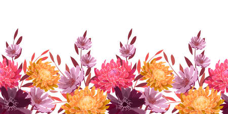 Art floral vector seamless pattern, border. Summer, autumn garden flowers isolated on a white background. Yellow, pink, pale purple asters, chrysanthemums, twigs and leaves. Ilustrace