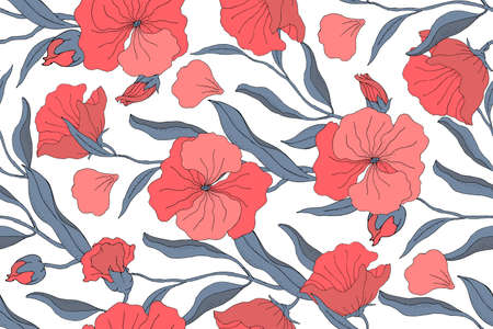 Art floral vector seamless pattern. Red flowers, buds with blue branches, leaves and petals isolated on a white background. For textile, fabric, wallpaper, kitchen decor, paper, accessories. Ilustrace