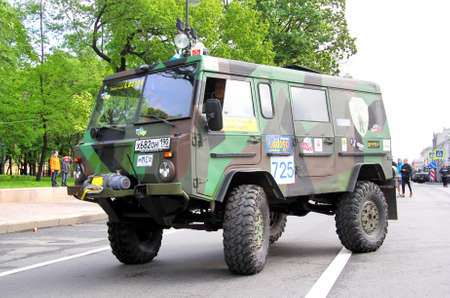 proto: SAINT PETERSBURG, RUSSIA - MAY 25  Evgeniy Belov s off-road vehicle Volvo C303 No 725 competes at the annual Ladoga Trophy Challenge on May 25, 2013 in Saint Petersburg, Russia