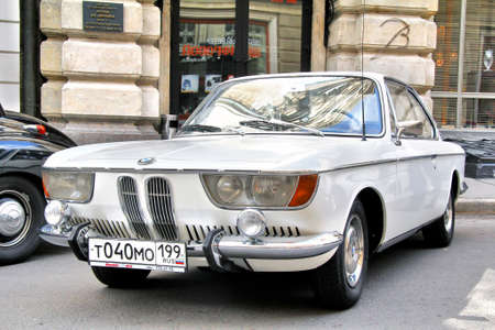 museum rally: MOSCOW, RUSSIA - JUNE 3  German motor car BMW 2000CS competes at the annual L U C  Chopard Classic Weekend Rally on June 3, 2012 in Moscow, Russia