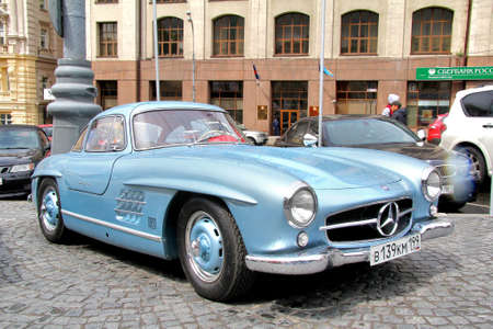 MOSCOW, RUSSIA - JUNE 3  German motor car Mercedes-Benz 300SL competes at the annual L U C  Chopard Classic Weekend Rally on June 3, 2012 in Moscow, Russia