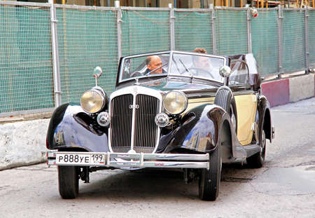museum rally: MOSCOW, RUSSIA - JUNE 3  German motor car Horch 853 competes at the annual L U C  Chopard Classic Weekend Rally on June 3, 2012 in Moscow, Russia