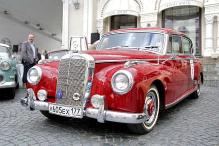 museum rally: MOSCOW, RUSSIA - JUNE 3  German motor car Mercedes-Benz Type 300 competes at the annual L U C  Chopard Classic Weekend Rally on June 3, 2012 in Moscow, Russia