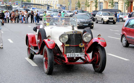 museum rally: MOSCOW, RUSSIA - JUNE 2  Italian motor car Alfa Romeo RL SS competes at the annual L U C  Chopard Classic Weekend Rally on June 2, 2013 in Moscow, Russia  Editorial