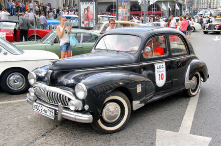museum rally: MOSCOW, RUSSIA - JUNE 2  French motor car Peugeot 203 competes at the annual L U C  Chopard Classic Weekend Rally on June 2, 2013 in Moscow, Russia