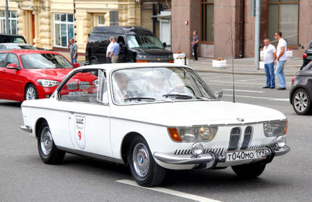 museum rally: MOSCOW, RUSSIA - JUNE 2  German motor car BMW 2000CS competes at the annual L U C  Chopard Classic Weekend Rally on June 2, 2013 in Moscow, Russia