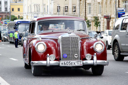 MOSCOW, RUSSIA - JUNE 2  German motor car Mercedes-Benz Type 300 competes at the annual L U C  Chopard Classic Weekend Rally on June 2, 2013 in Moscow, Russia
