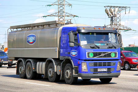 MOSCOW, RUSSIA - JUNE 2, 2012  Blue Volvo FM12 cistern truck at the city street