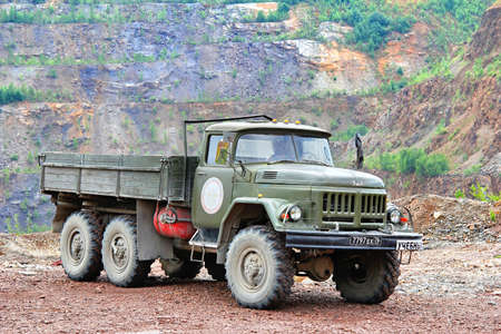 CHELYABINSK REGION, RUSSIA - JULY 21, 2012  Russian military ZIL 131 vehicle at the countryside