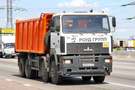 MOSCOW, RUSSIA - JUNE 2, 2012  MAZ 6516 dump truck at the interurban road