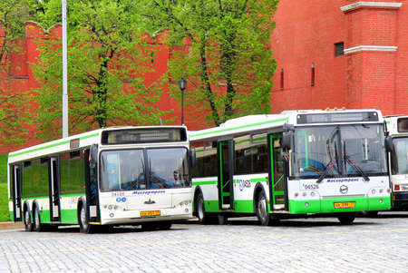 MOSCOW, RUSSIA - MAY 6, 2012  New city buses at the Red Square