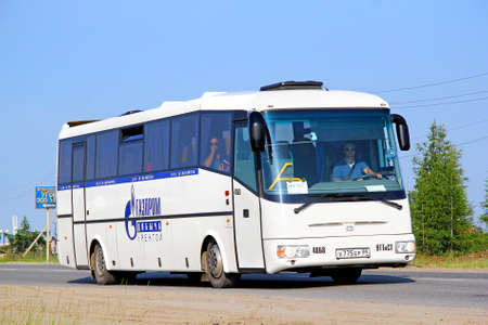 NOVYY URENGOY, RUSSIA - JULY 18, 2013  White SOR LH10 5 Arktika coach at the city street