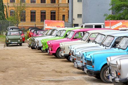 BERLIN, GERMANY - SEPTEMBER 12, 2013  Trabant retro vehicles at the parking of the Trabi Safari touristic service