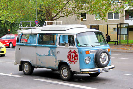 BERLIN, GERMANY - SEPTEMBER 11, 2013  Blue Volkswagen Transporter retro van at the city street