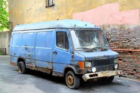 SAINT PETERSBURG, RUSSIA - MAY 26, 2013  Deserted Mercedes-Benz T1 cargo van at the city street