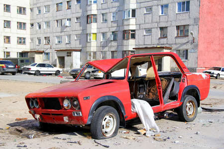 ransack: NADYM, RUSSIA - MAY 4, 2013  Deserted soviet vehicle LADA 2106 at the city street  Editorial