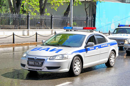 MOSCOW, RUSSIA - MAY 6, 2012  Russian police car Volga Siber at the city street