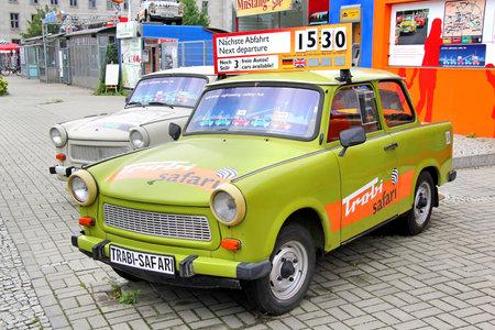 BERLIN, GERMANY - SEPTEMBER 12, 2013  Trabant 601 retro vehicles at the parking of the Trabi Safari touristic service