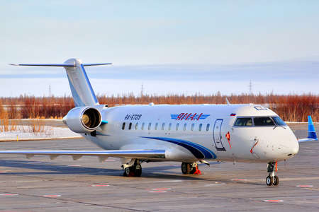 bombardier: NOVYY URENGOY, RUSSIA - APRIL 27, 2013: Yamal Airlines Canadair Challenger 850 at the Novyy Urengoy International Airport.