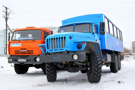NOVYY URENGOY, RUSSIA - APRIL 26, 2014: Ural 3255 off-road bus at the city street.