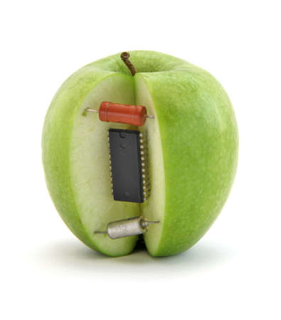 genetically engineered: Electronic apple Stock Photo