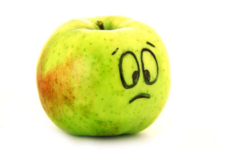 Sad apple Stock Photo