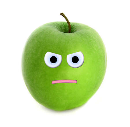 Angry apple Stock Photo