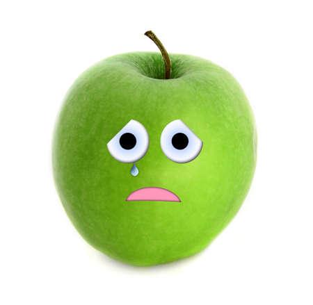 crestfallen: Crying apple