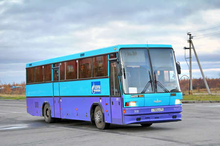 NOVYY URENGOY, RUSSIA - SEPTEMBER 25, 2012: Blue MAZ 152 Vazola interurban coach at the city street.
