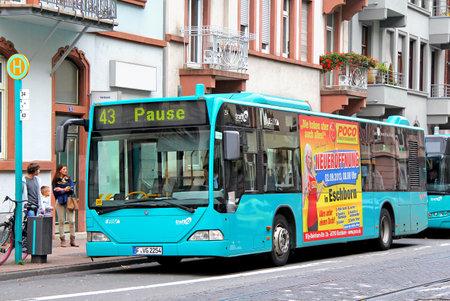 old bus: FRANKFURT AM MAIN, GERMANY - SEPTEMBER 15, 2013: Mercedes-Benz O530 Citaro city bus of the Verkehrsgesellschaft Frankfurt am Main mbH bus company at the city street.