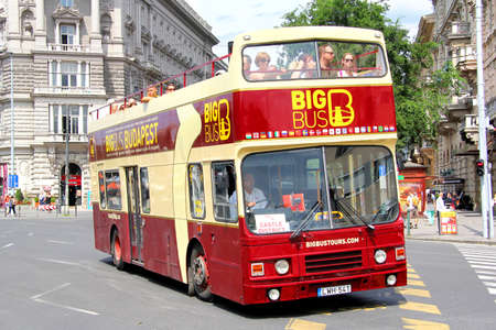 british touring car: BUDAPEST, HUNGARY - JULY 23, 2014: City sightseeing bus Alexander RH at the city street. Editorial