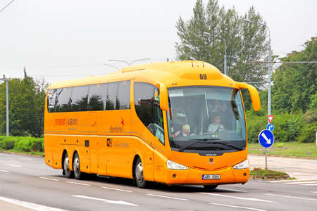 BRNO, CZECH REPUBLIC - JULY 22, 2014: Interurban coach Irizar PB at the city street. Editorial