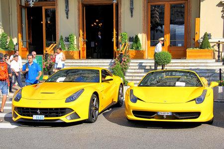 MONTE CARLO, MONACO - AUGUST 2, 2014: Yellow sportcars Ferrari near the casino. Editorial