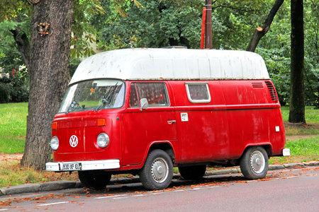PARIS, FRANCE - AUGUST 7, 2014: Retro cargo van Volkswagen Transporter at the city street.