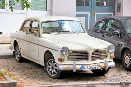 utilitarian: BERLIN, GERMANY - AUGUST 12, 2014: Swedish retro car Volvo Amazon near the museum of vintage cars Classic Remise. Editorial