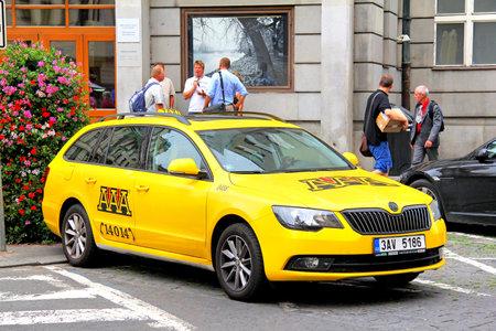 superb: PRAGUE, CZECH REPUBLIC - JULY 21, 2014: Taxi car Skoda Superb at the city street.